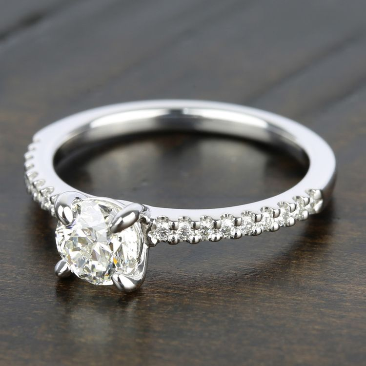 Scallop Diamond Engagement Ring in White Gold (1/5 ctw)   05