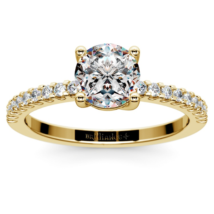Scallop Diamond Engagement Ring in Yellow Gold (1/5 ctw) | 01