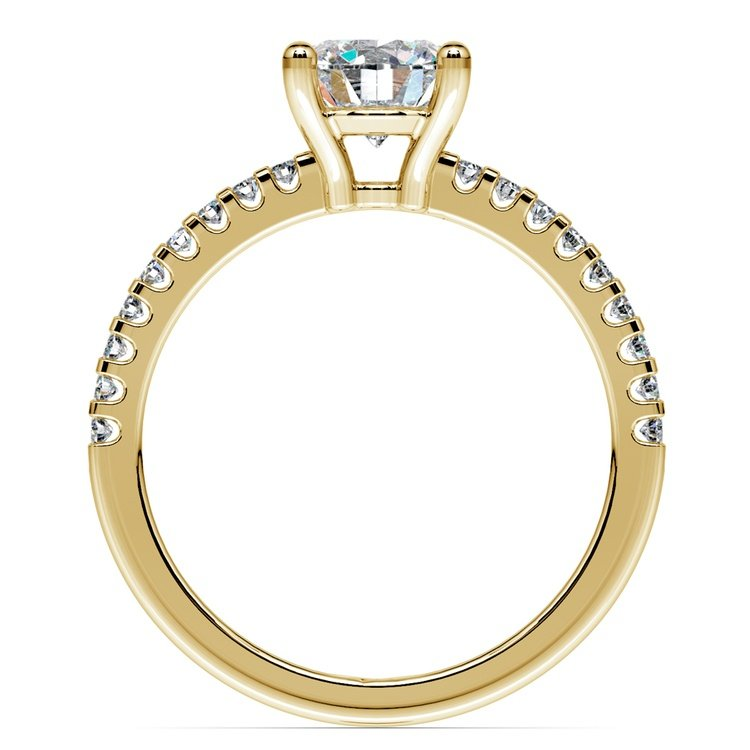 Scallop Diamond Engagement Ring in Yellow Gold (1/5 ctw) | 02