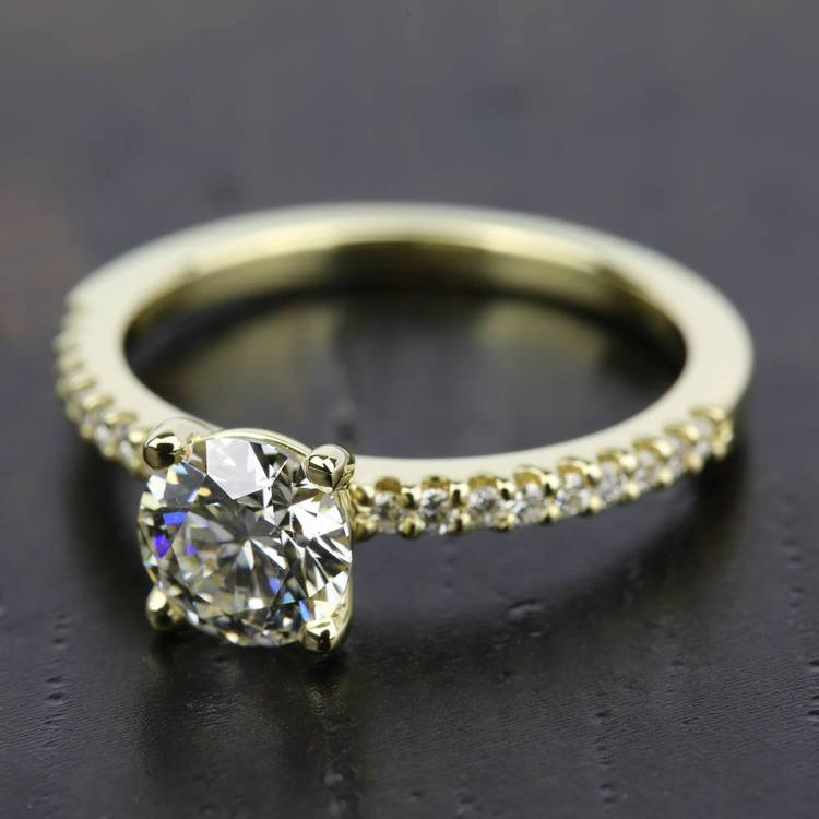 Scallop Diamond Engagement Ring in Yellow Gold (1/5 ctw) | 05