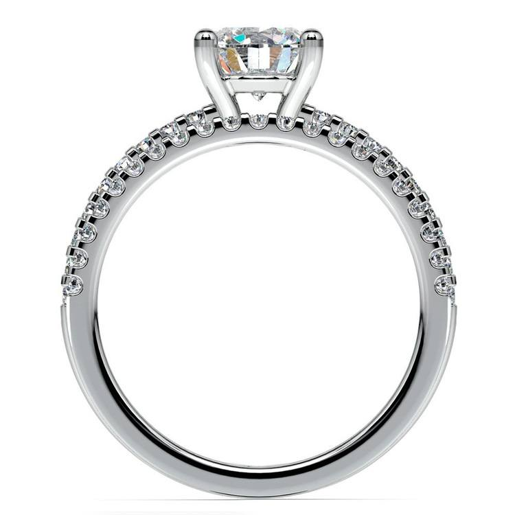 Scalloped Engagement Ring & Wedding Band In Platinum   02