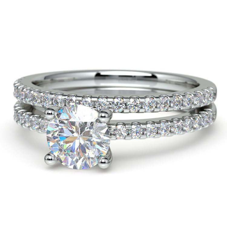 Scalloped Engagement Ring & Wedding Band In Platinum   04