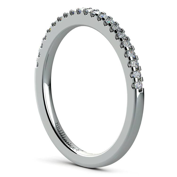 Scalloped Engagement Ring & Wedding Band In Platinum   05