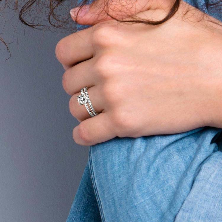 Scalloped Engagement Ring & Wedding Band In Platinum   07