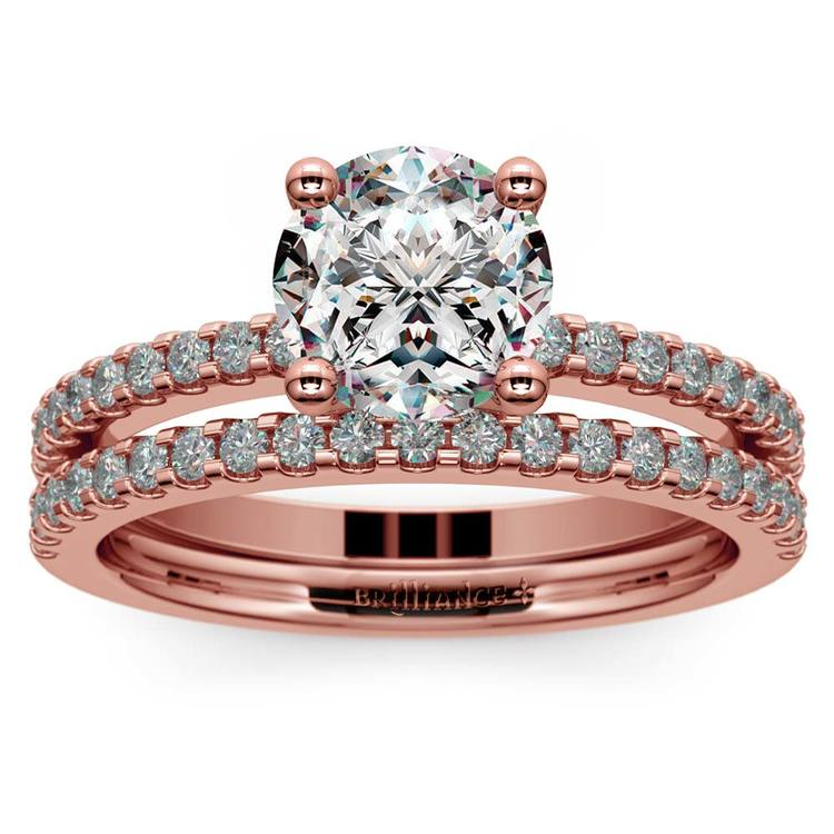 Scalloped Rose Gold Engagement Ring and Wedding Band   01