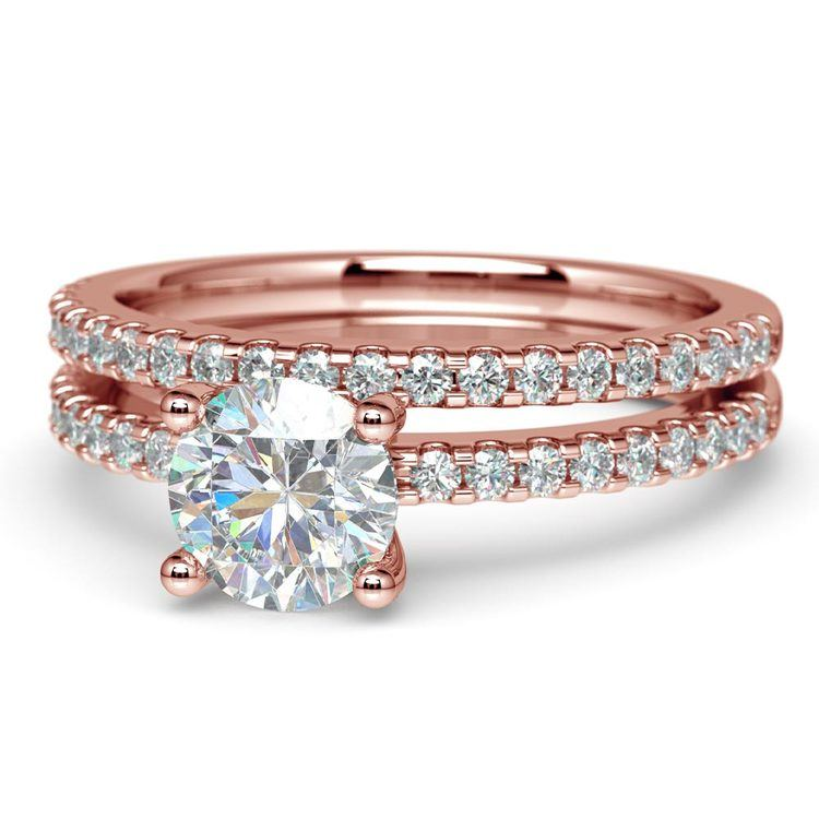 Scalloped Rose Gold Engagement Ring and Wedding Band   04