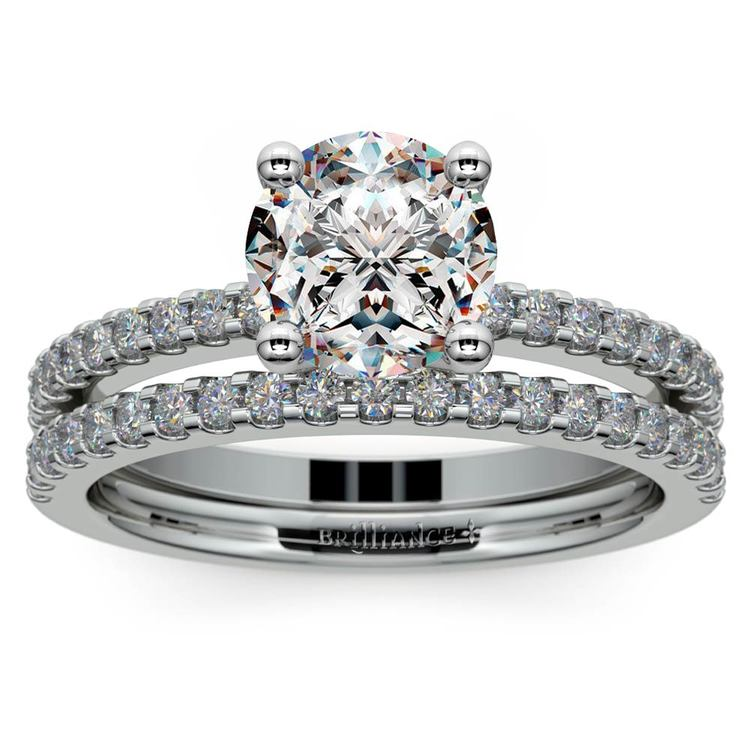 Scalloped Engagement Ring & Wedding Band In White Gold | 01