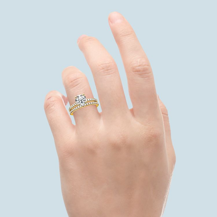 Scalloped Engagement Ring & Wedding Band In Yellow Gold | 06