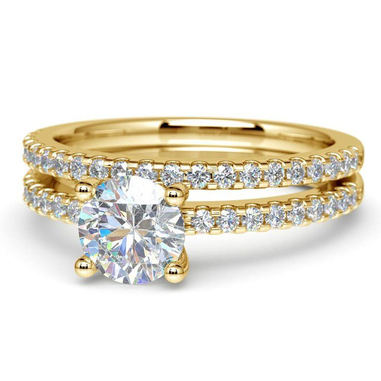 Scalloped Engagement Ring & Wedding Band In Yellow Gold | 04