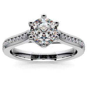Six Prong Channel Diamond Engagement Ring in Palladium