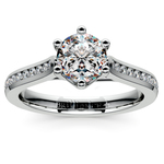 Six Prong Channel Diamond Engagement Ring in White Gold | Thumbnail 01