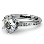 Six Prong Channel Diamond Engagement Ring in White Gold | Thumbnail 04