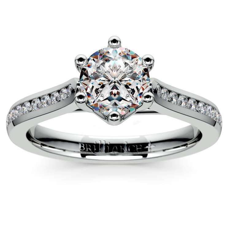 Six Prong Channel Diamond Engagement Ring in White Gold | 01