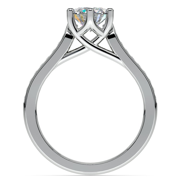 Six Prong Channel Diamond Engagement Ring in White Gold | 02