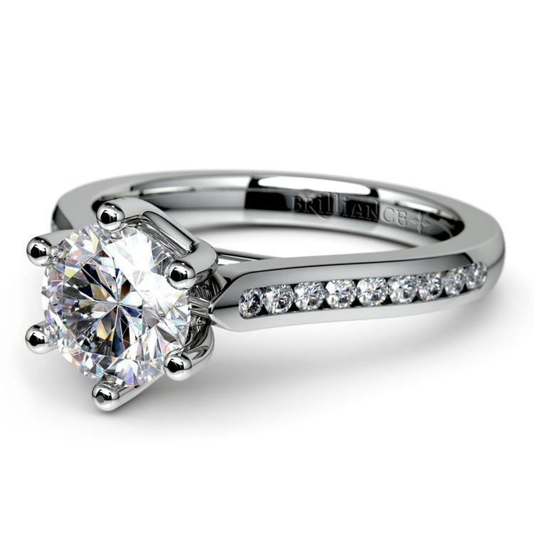 Six Prong Channel Diamond Engagement Ring in White Gold | 04