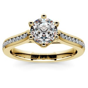 Six Prong Channel Diamond Engagement Ring in Yellow Gold