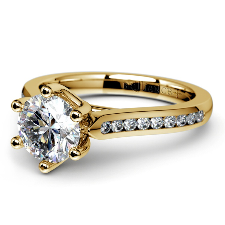 Six Prong Channel Diamond Engagement Ring in Yellow Gold | 04