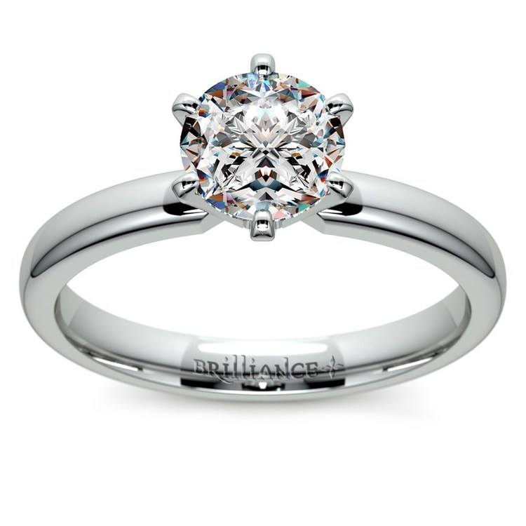 Six-Prong Solitaire Engagement Ring in White Gold (2.5 mm) | 01