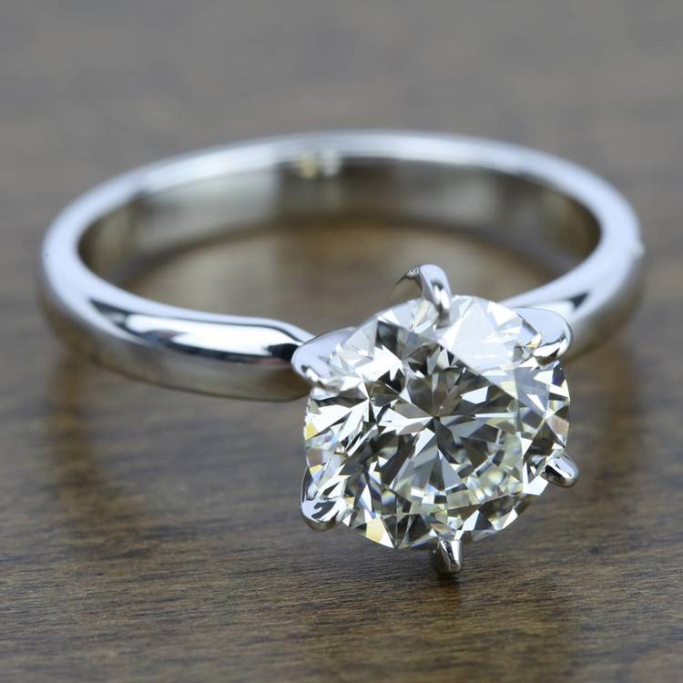 Six-Prong Solitaire Engagement Ring In White Gold (2.5 Mm