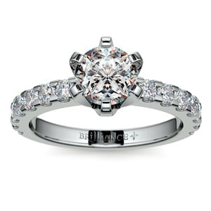 Six-Prong Scallop Diamond Engagement Ring in White Gold