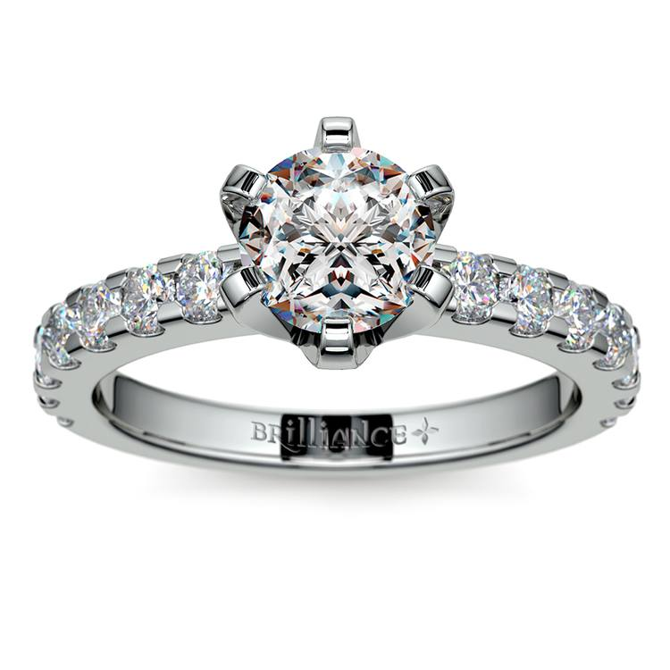 Six-Prong Scallop Diamond Engagement Ring in White Gold | 01
