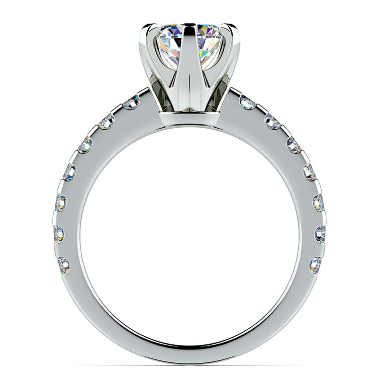 Six-Prong Scallop Diamond Engagement Ring in White Gold | 02