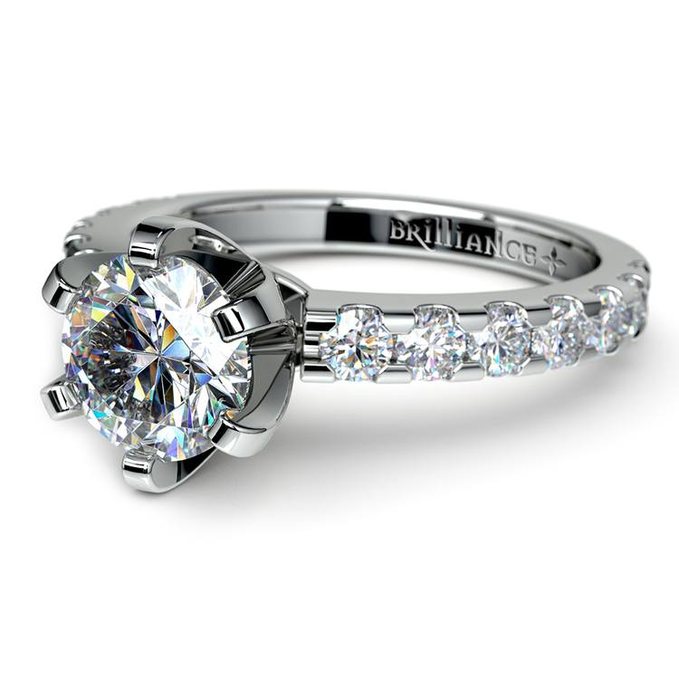 Six-Prong Scallop Diamond Engagement Ring in White Gold | 04