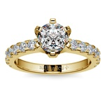 Six-Prong Scallop Diamond Engagement Ring in Yellow Gold | Thumbnail 01