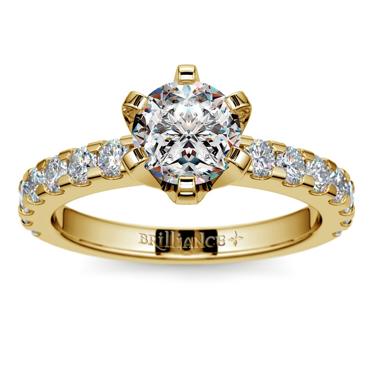 Six-Prong Scallop Diamond Engagement Ring in Yellow Gold | 01