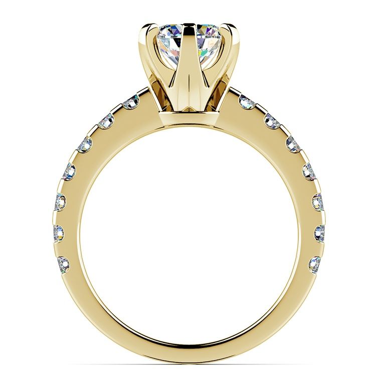 Six-Prong Scallop Diamond Engagement Ring in Yellow Gold | 02