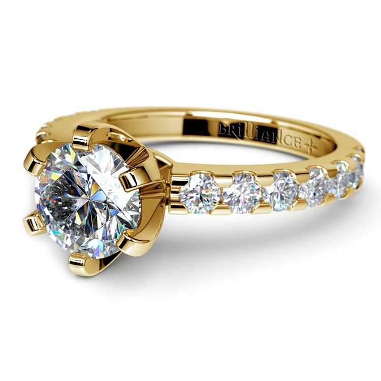 Six-Prong Scallop Diamond Engagement Ring in Yellow Gold | 04