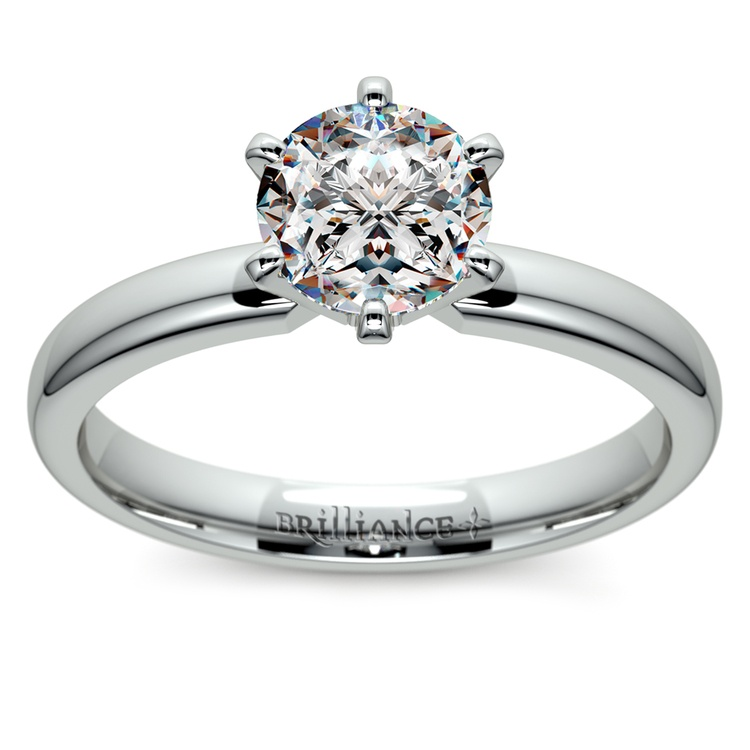 Six-Prong Solitaire Engagement Ring in Platinum | 01