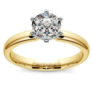 Six-Prong Solitaire Engagement Ring in Yellow Gold