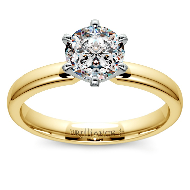 Six-Prong Solitaire Engagement Ring in Yellow Gold | 01