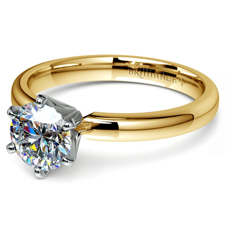 Six-Prong Solitaire Engagement Ring in Yellow Gold | 04