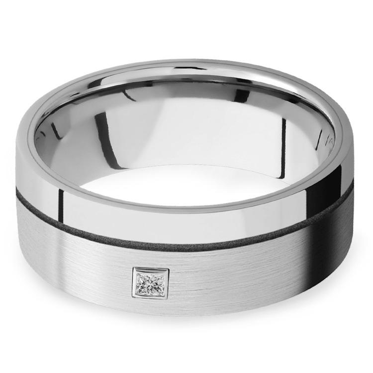 Sleek Satin Finish Cobalt Men's Diamond Engagement Ring | 01