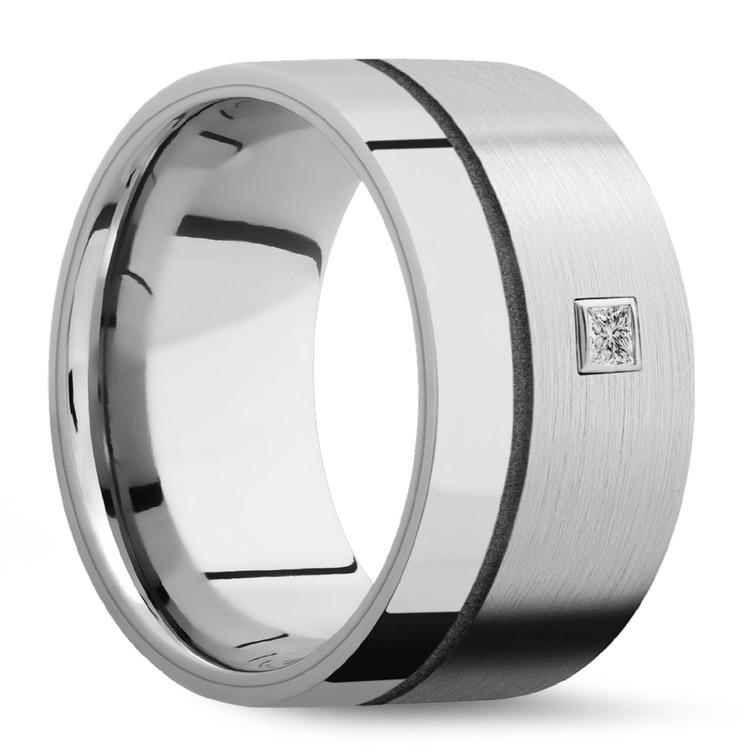 Sleek Satin Finish Cobalt Men's Diamond Engagement Ring | 02
