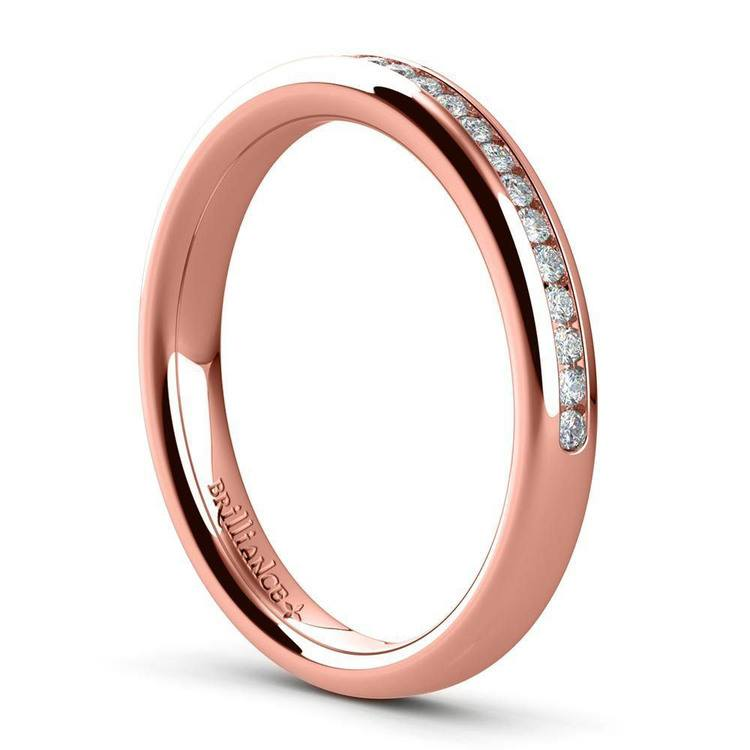 Solitaire Ring and Channel Diamond Bridal Set in Rose Gold   05