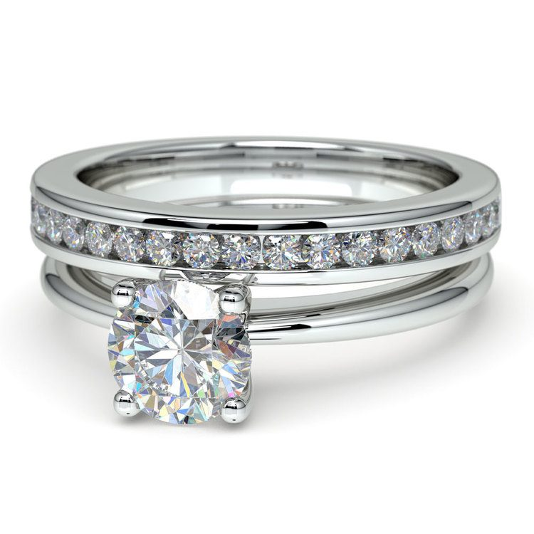 Solitaire Ring & Channel Diamond Bridal Set in White Gold | 04
