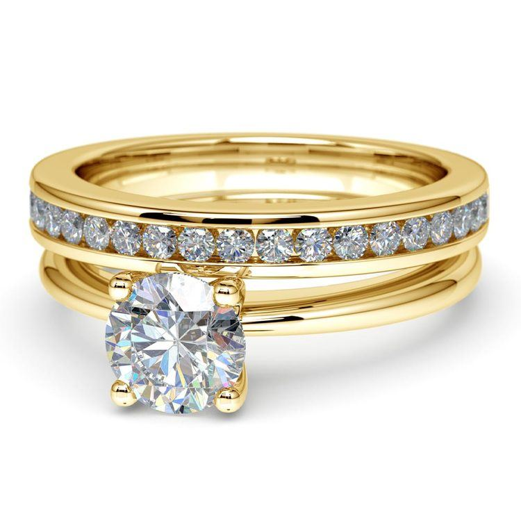 Solitaire Ring & Channel Diamond Bridal Set in Yellow Gold | 04