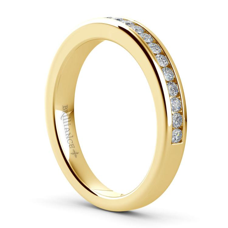 Solitaire Ring & Channel Diamond Bridal Set in Yellow Gold | 05