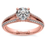 Split Shank Diamond Engagement Ring in Rose Gold | Thumbnail 01