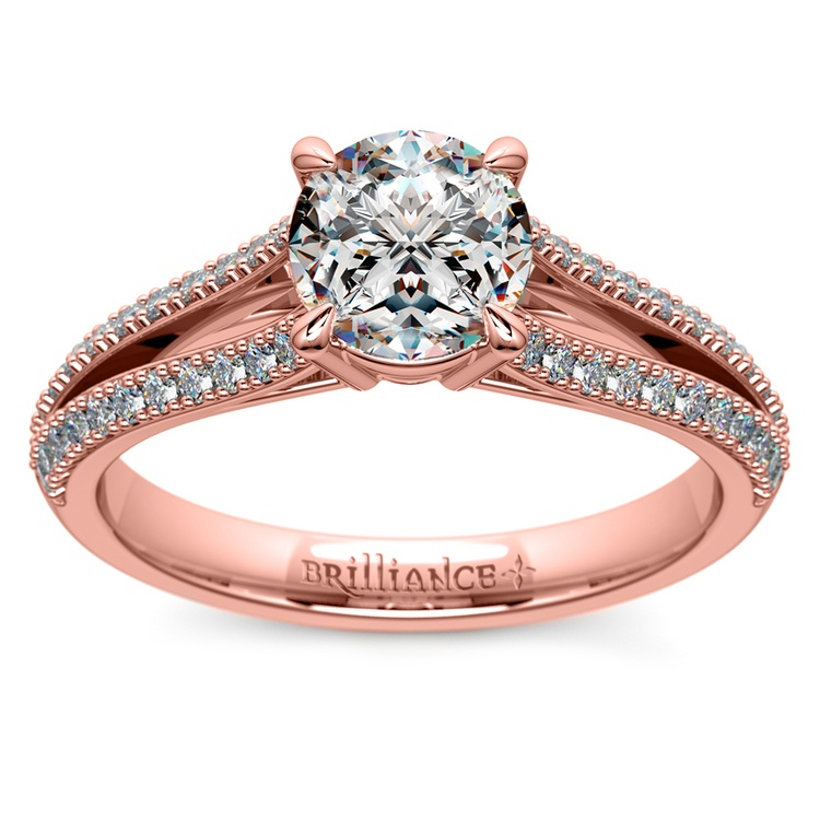 Split Shank Diamond Engagement Ring in Rose Gold | 01