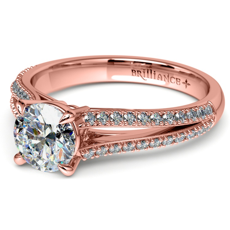 Split Shank Diamond Engagement Ring in Rose Gold | 04