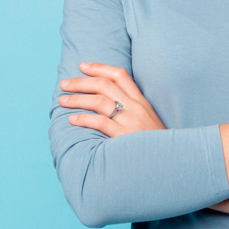 Split Shank Diamond Engagement Ring in Rose Gold   06