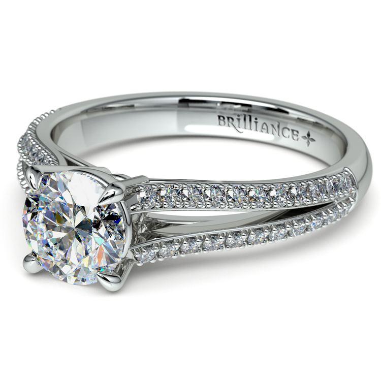 Split Shank Diamond Engagement Ring in Platinum | 04