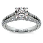 Split Shank Diamond Engagement Ring in White Gold | Thumbnail 01