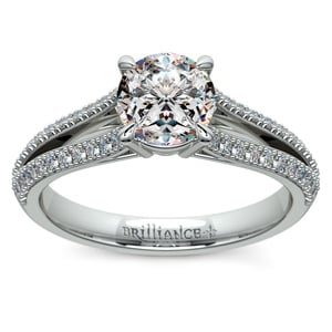 Split Shank Diamond Engagement Ring in White Gold