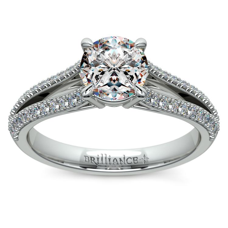 Split Shank Diamond Engagement Ring in White Gold | 01