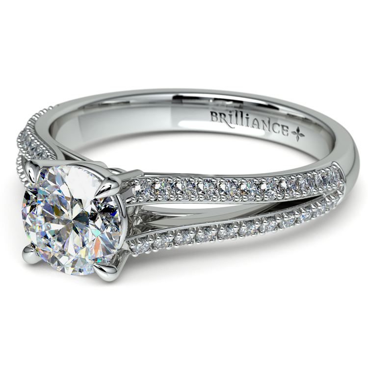 Split Shank Diamond Engagement Ring in White Gold | 04